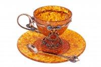 """Чайная чашка """"васильки"""" ювелирная бронза"""