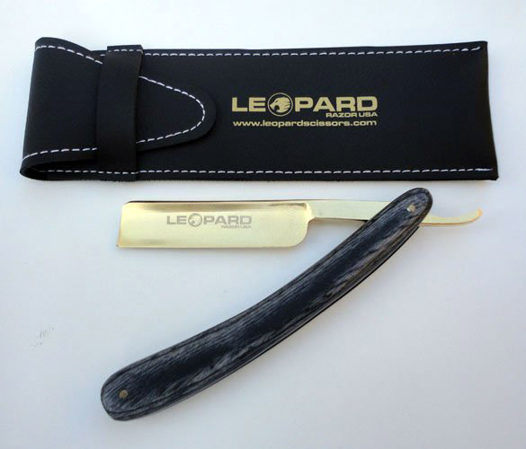 Бритва опасная Leopard деревянная серая ручка лезвие золото 6,5 дюйма