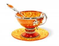 """Чашка чайная """"виноград"""" из янтаря на 1 персону (ювелирная бронза)"""