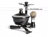 """Комплект для бритья """"черный и серебро"""" совместим с Gillette Mach-3"""