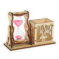 Часы песочные зайчик с карандашницей, 9х13 см, микс