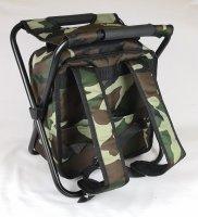 Рюкзак-холодильник защитного цвета для пикника с табуреткой на 2 персоны