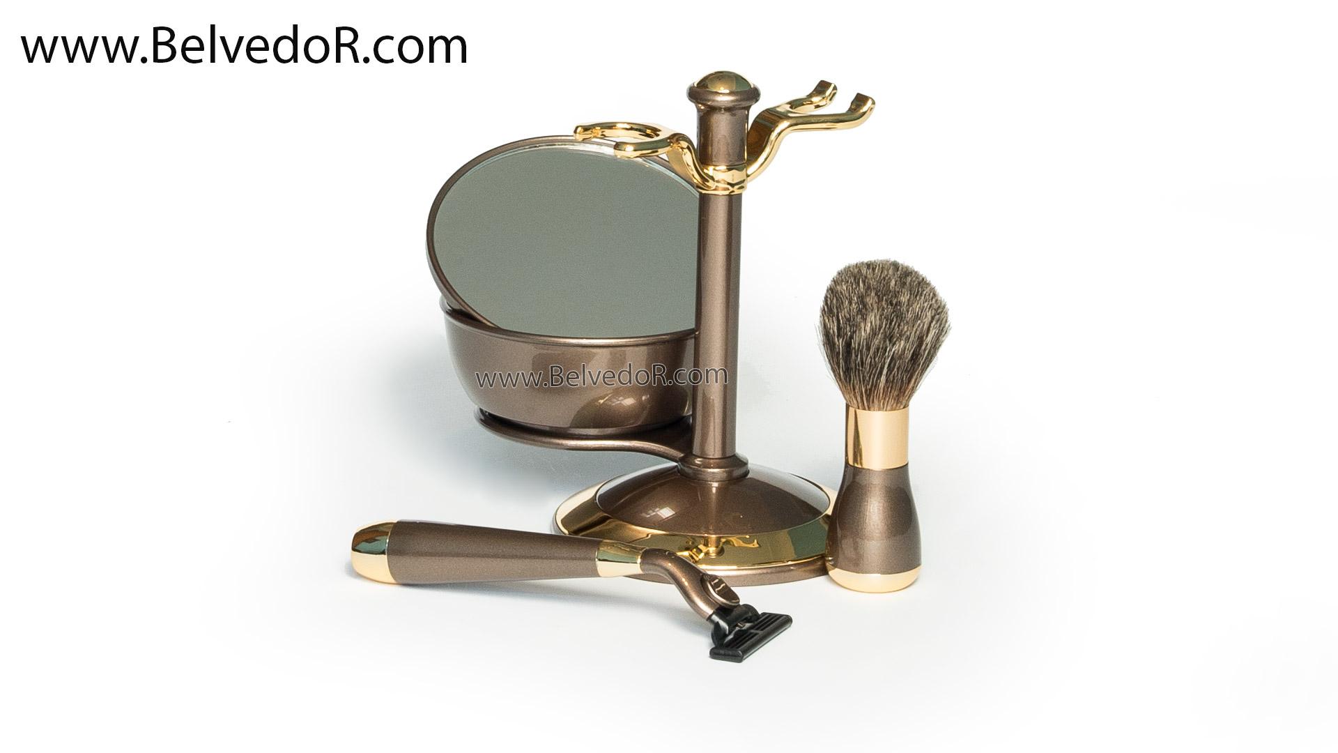 "Набор для бритья ""бронза и золото"" (gillette Mach-3, нат. ворс, ю.корея)"