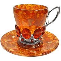 "Кофейная чашка ""солнышко"" (янтарь, серебро)"
