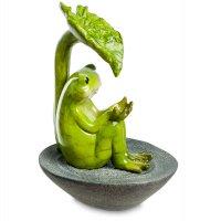 Ed-349 декор. фонтан лягушонок под листом